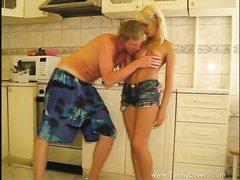 Lewd hump in kitchen