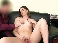 Scorching stunner unwraps bare and thumbs her smooth-shaven beaver fuck hole