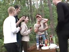 5 boys and 2 teen girls in the forest