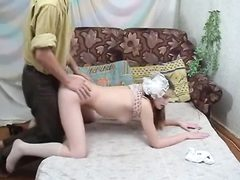 Russian schoolgirl gets shaved pussy nailed