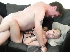 Horny blonde girl creampied by stepfather