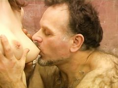 Mature old hairy teacher fucks young sweet babe